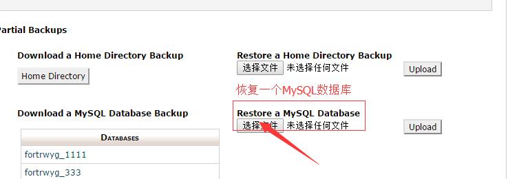 上传MySQL数据库备份文件